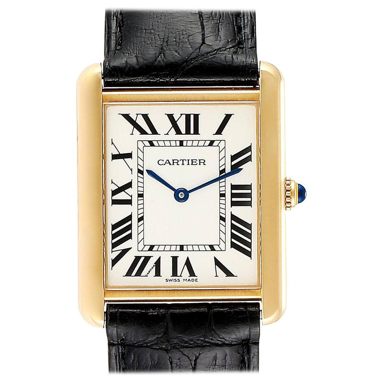 Cartier Tank Solo Yellow Gold Steel Black Strap Men's Watch W1018855 For Sale