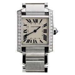 Cartier Tank Stainless Steel Diamond Watch W4TA0009