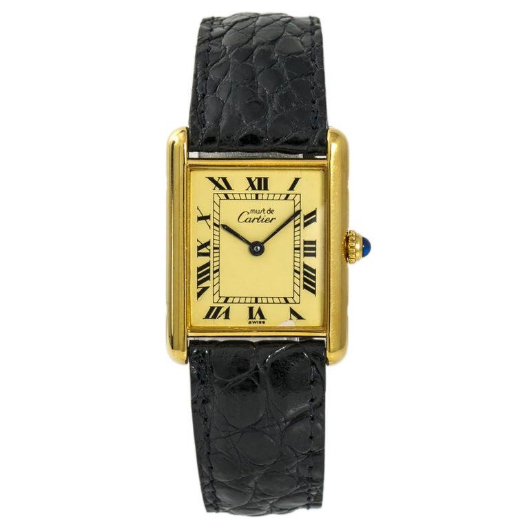 a0ee9a27c35 Cartier Tank Vermeil Gold Plated Silver 925 Unisex Quartz Vintage Watch For  Sale