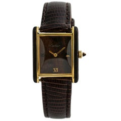 Cartier Tank Vermeil No-Ref#, Black Dial, Certified and Warranty