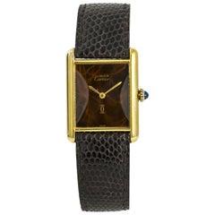 Cartier Tank Vermeil No-Ref#, Brown Dial, Certified and Warranty