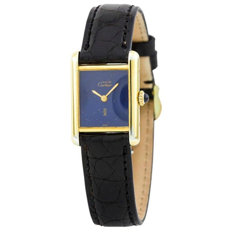 Cartier Tank Vermeil Vintage, Black Dial, Certified and Warranty