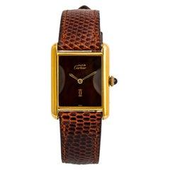 Cartier Tank Vermeil 2220, Black Dial Certified Authentic