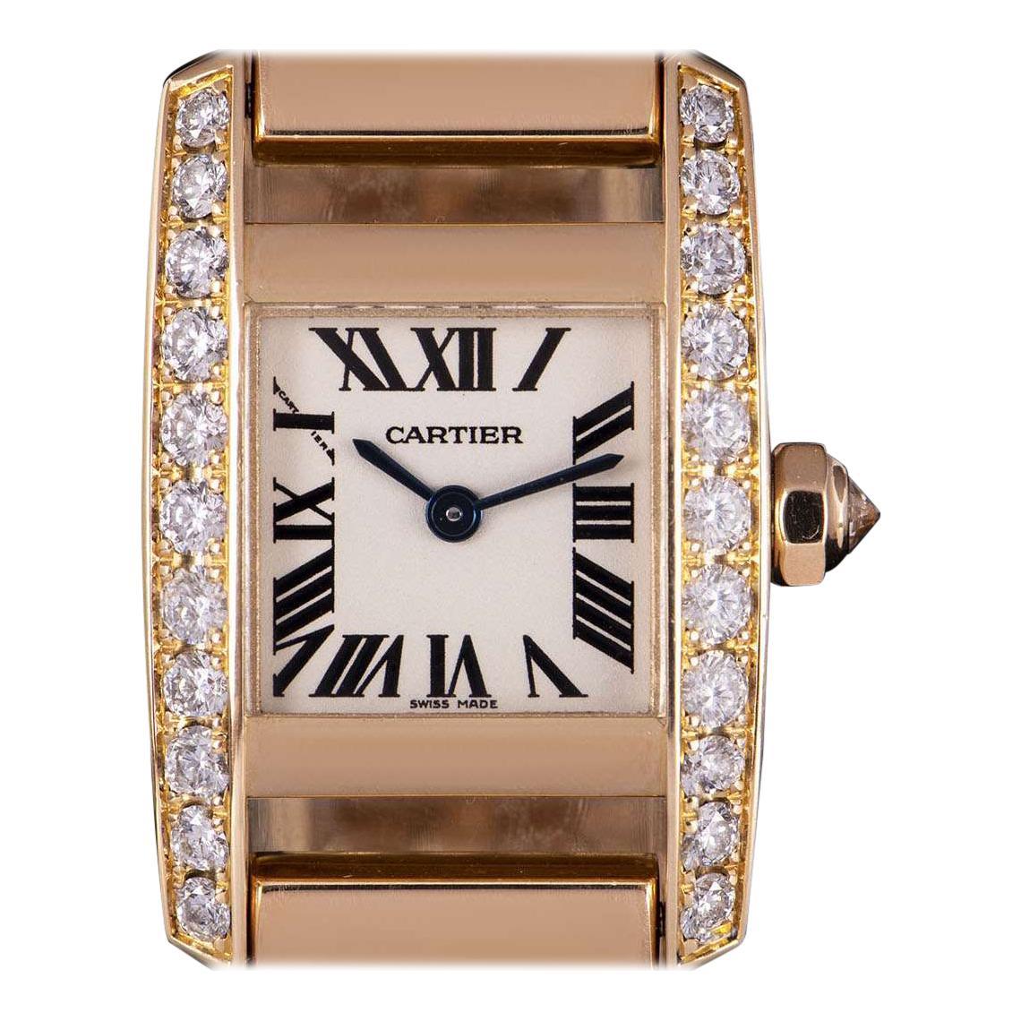 Cartier Tankissime 18k Rose Gold Silver Dial Diamond Set Watch