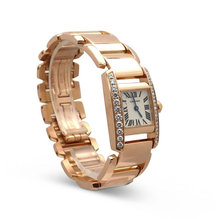 Round Cut Cartier 'Tankissime' Rose Gold and Diamond Watch For Sale