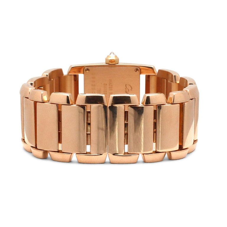 Cartier 'Tankissime' Rose Gold and Diamond Watch In Excellent Condition For Sale In New York, NY
