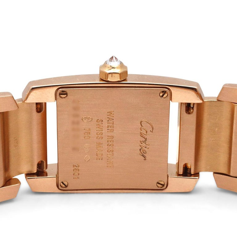 Women's or Men's Cartier 'Tankissime' Rose Gold and Diamond Watch For Sale