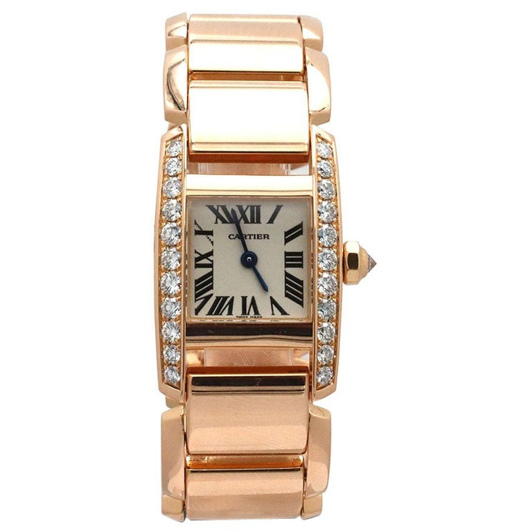 Cartier 'Tankissime' Rose Gold and Diamond Watch For Sale