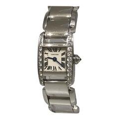 Cartier Tankissime White Gold Diamond Ladies Bracelet Watch WE70069H New