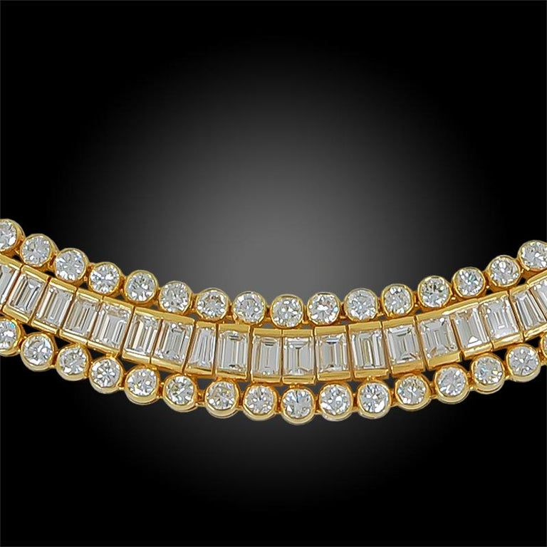 Circular, baguette and tapered baguette-cut diamonds, 18k gold, 16 inches, signed Cartier