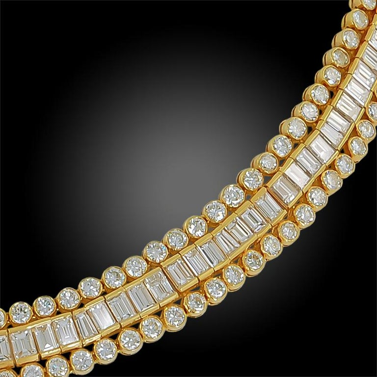 Cartier Tapered, Baguette, Round Diamond Necklace, 38 Carat In Good Condition For Sale In New York, NY