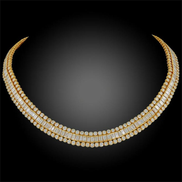Women's or Men's Cartier Tapered, Baguette, Round Diamond Necklace, 38 Carat For Sale