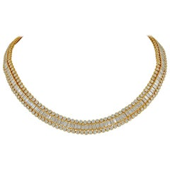 Cartier Tapered, Baguette, Round Diamond Necklace, 38 Carat