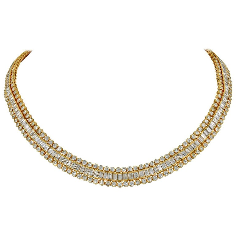 Cartier Tapered, Baguette, Round Diamond Necklace, 38 Carat For Sale