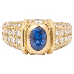 Cartier Tarentelle Sapphire Diamonds 18 Carat Yellow Gold Ring