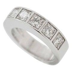 Cartier Diamond 18 Karat White Gold Tectonic Ring US 4