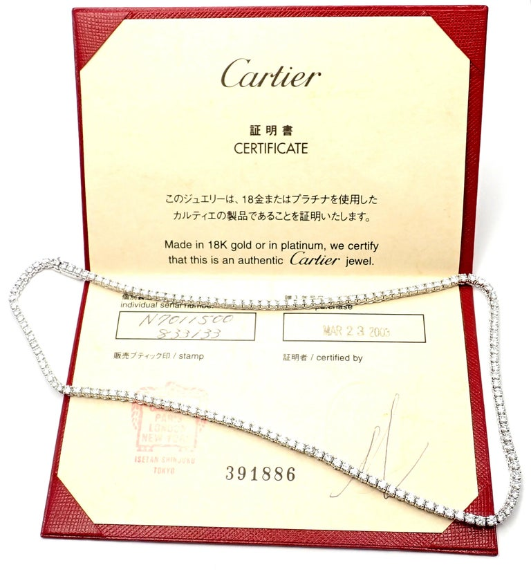 18k White Gold Diamond Line Tennis Necklace by Cartier.  With 150 Round brilliant cut diamonds VVS1 clarity E color Total Diamond Weight approx. 9.75ct This necklace comes with an original Cartier box and Cartier certificate. Details:  Chain Length: