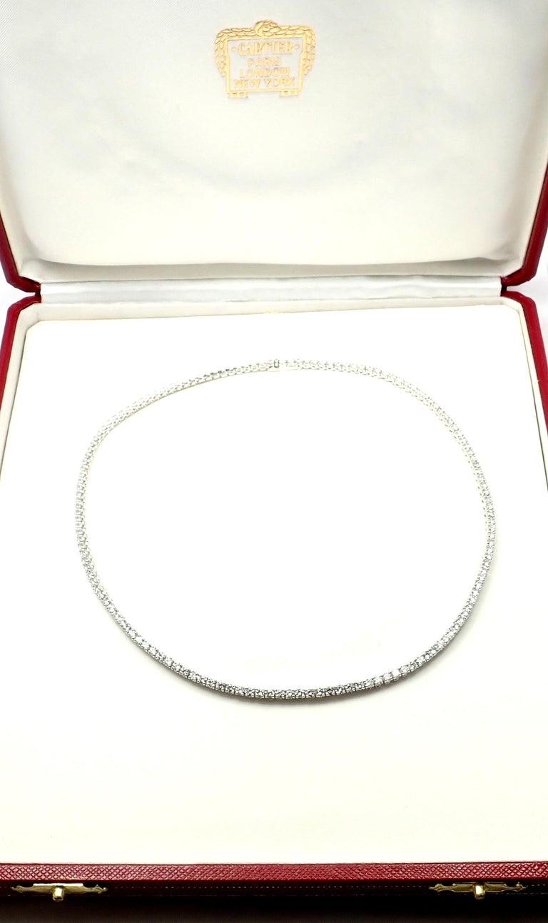 Women's or Men's Cartier Tennis Line Diamond White Gold Necklace For Sale