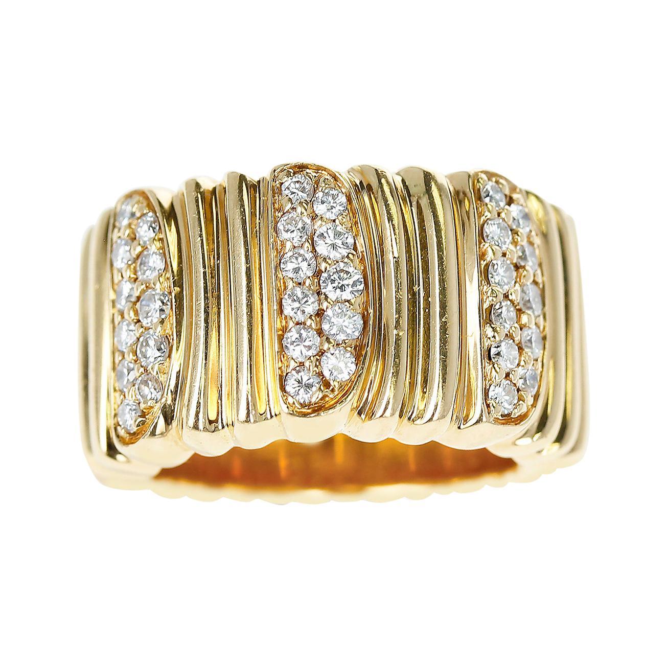 Cartier Textured 18 Karat Yellow Gold and Diamond Band Ring
