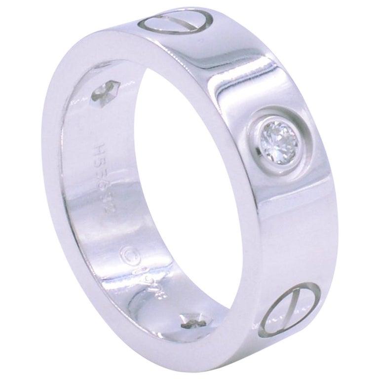 c1fc8cd066fe2 Cartier Three-Diamond Love 18 Karat White Gold Ladies Wedding Band Ring