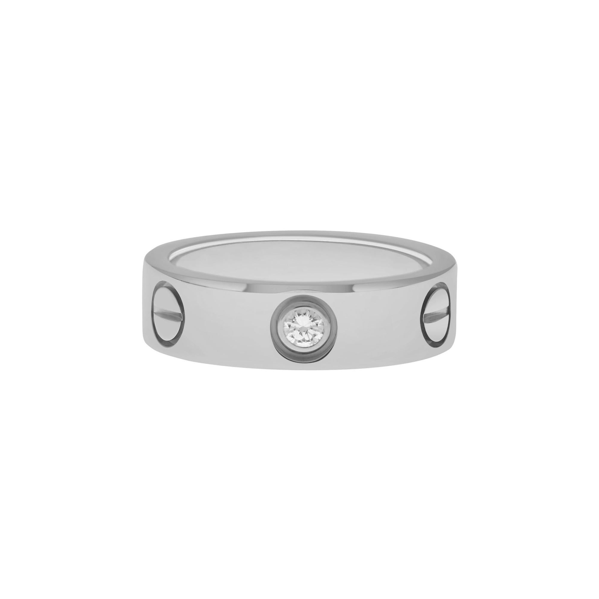 Cartier Three Diamond Love Ring Set in 18k White Gold