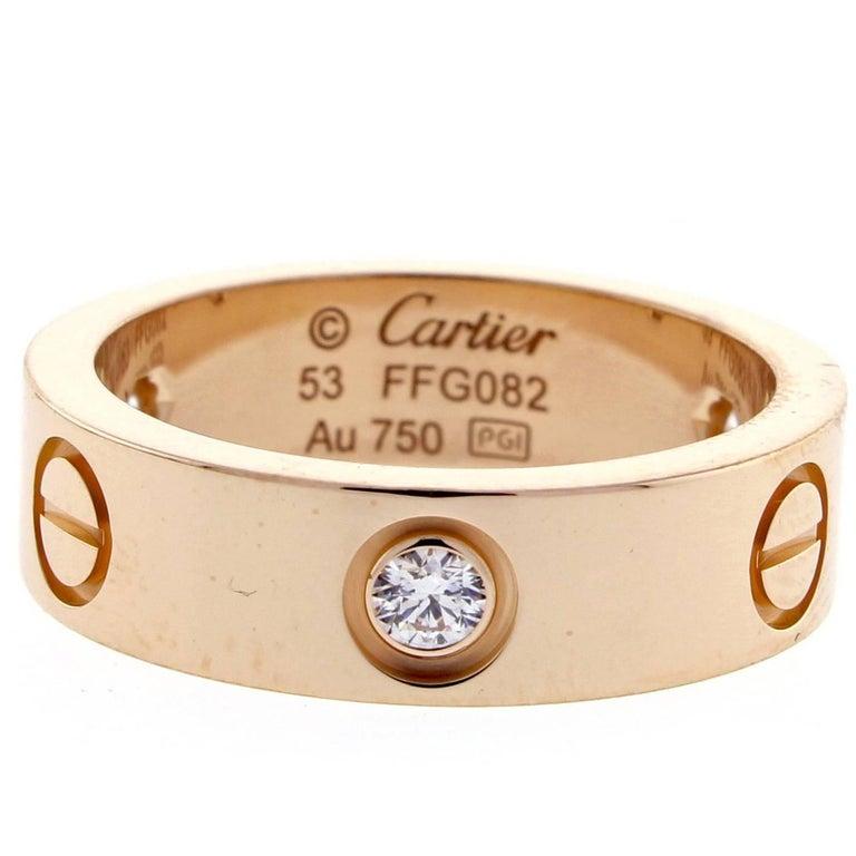 Cartier Three-Diamond Pink Gold Love Ring