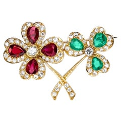 Cartier Three-Leaf and Four-Leaf Clover Pear Emerald & Ruby Brooch with Diamonds