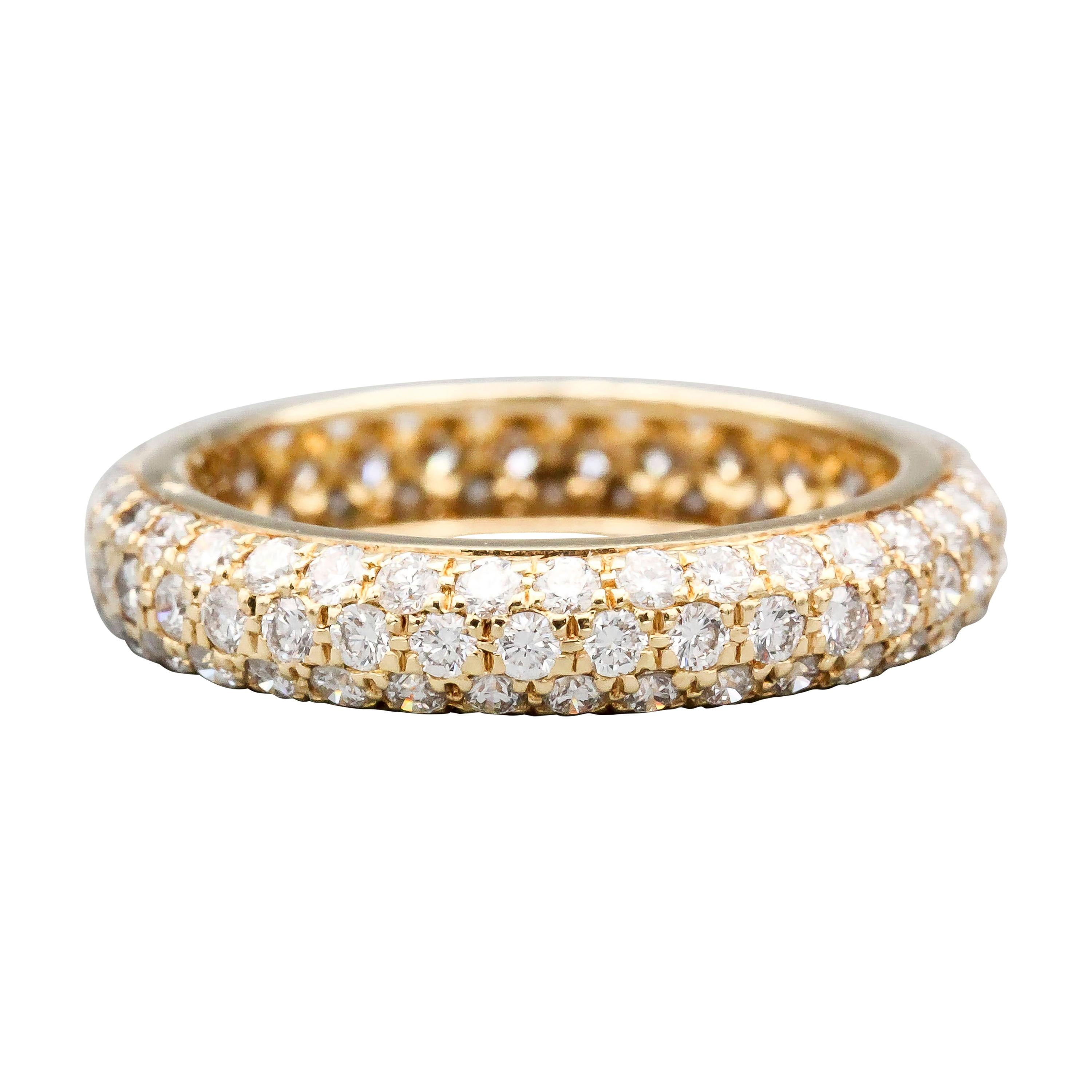 Cartier Three-Row Pave Diamond and 18k Gold Band Ring