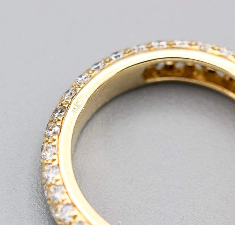 Round Cut Cartier Three-Row Pave Diamond and 18k Gold Band Ring For Sale