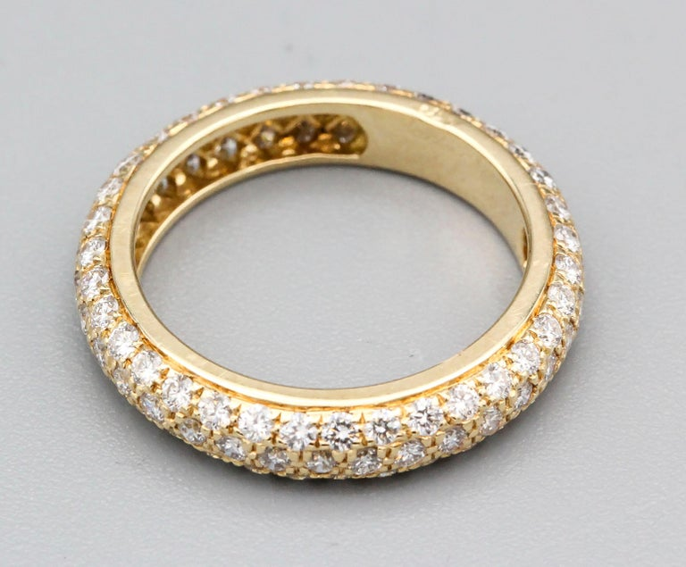 Cartier Three-Row Pave Diamond and 18k Gold Band Ring In Good Condition For Sale In New York, NY