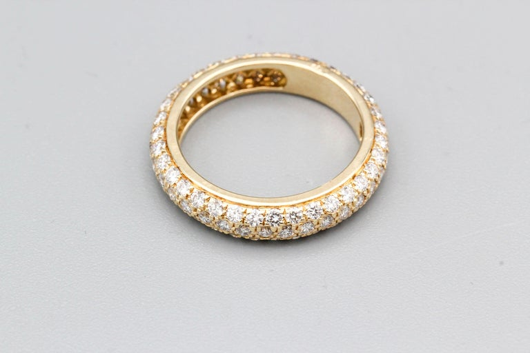 Women's or Men's Cartier Three-Row Pave Diamond and 18k Gold Band Ring For Sale