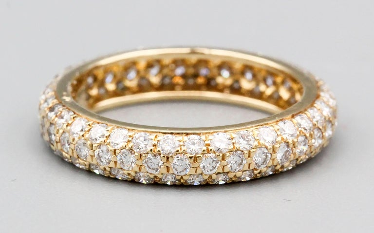 Cartier Three-Row Pave Diamond and 18k Gold Band Ring For Sale 1