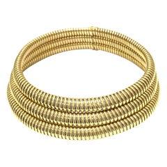 Cartier Three Row Tubogaz Necklace Steel 18K Yellow Gold