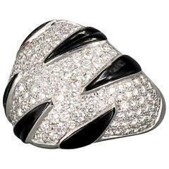Cartier Tiger Stripe Onyx Diamond 18 Karat White Gold Ring