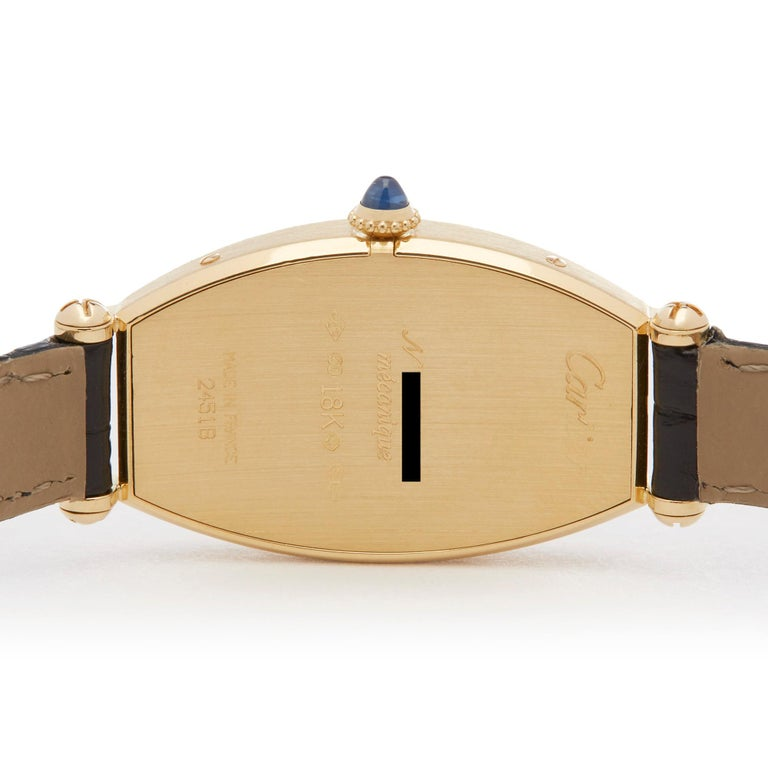 Cartier Tonneau 18 Karat Yellow Gold 2451B For Sale 2