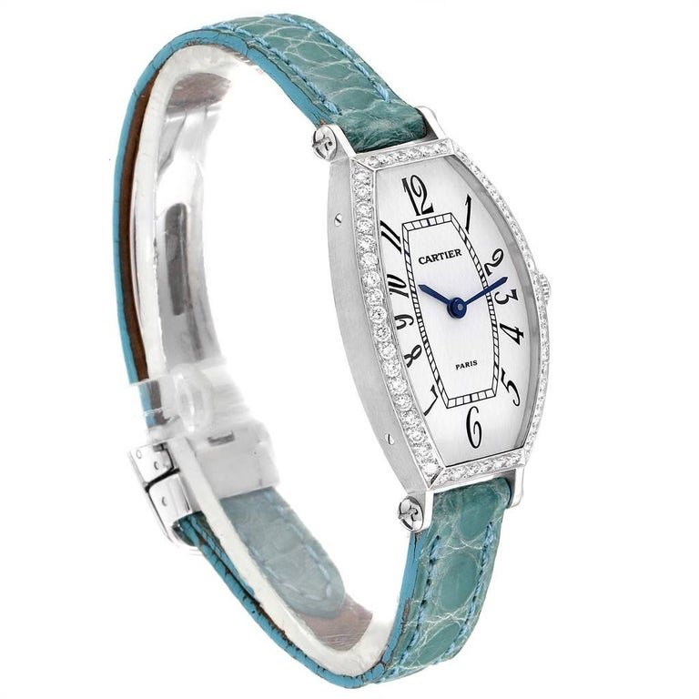 Cartier Tonneau White Gold Green Strap Diamond Ladies Watch WE400131 In Excellent Condition For Sale In Atlanta, GA