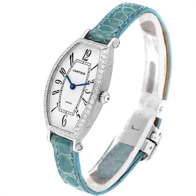 Women's Cartier Tonneau White Gold Green Strap Diamond Ladies Watch WE400131 For Sale