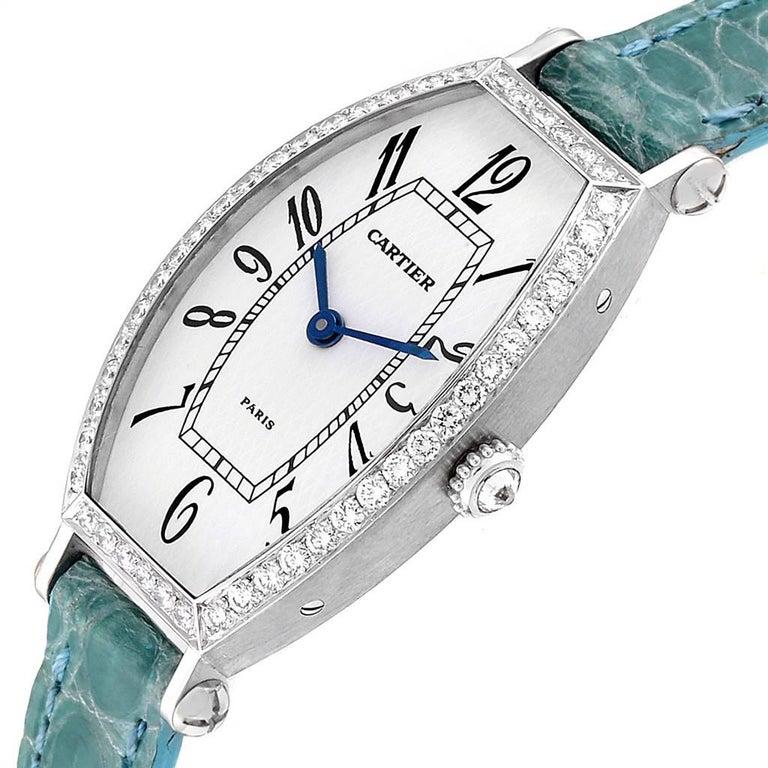 Cartier Tonneau White Gold Green Strap Diamond Ladies Watch WE400131 For Sale 1