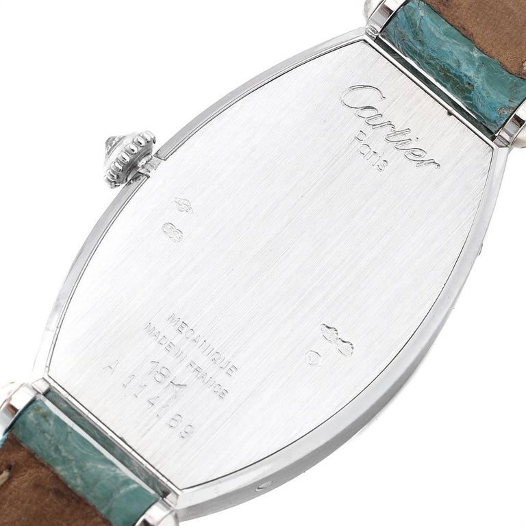 Cartier Tonneau White Gold Green Strap Diamond Ladies Watch WE400131 For Sale 2