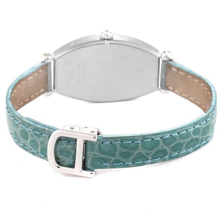 Cartier Tonneau White Gold Green Strap Diamond Ladies Watch WE400131 For Sale 3
