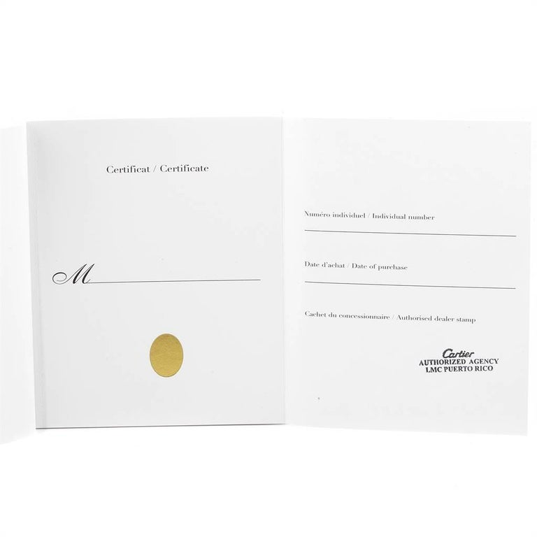 Cartier Tonneau White Gold Green Strap Diamond Ladies Watch WE400131 For Sale 4
