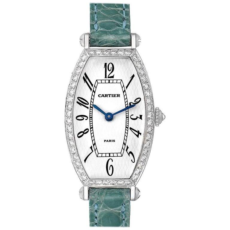 Cartier Tonneau White Gold Green Strap Diamond Ladies Watch WE400131 For Sale