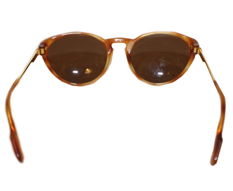 Brown Cartier Tortoise Shell Composite 130 Sunglasses W/ Gold Tone Temples For Sale