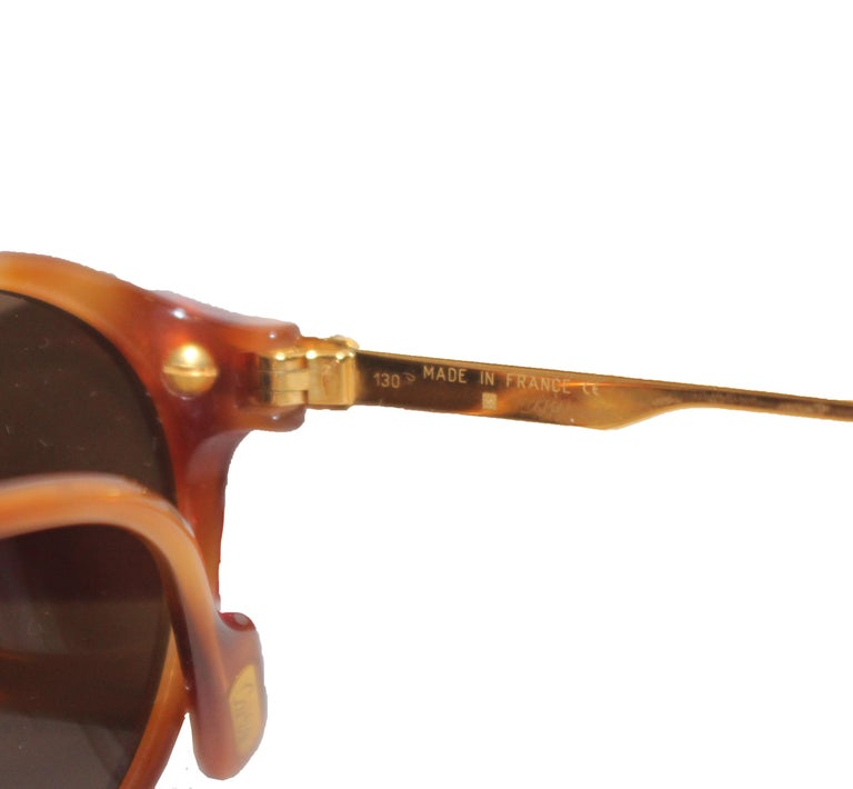 Cartier Tortoise Shell Composite 130 Sunglasses W/ Gold Tone Temples In Excellent Condition For Sale In Palm Beach, FL