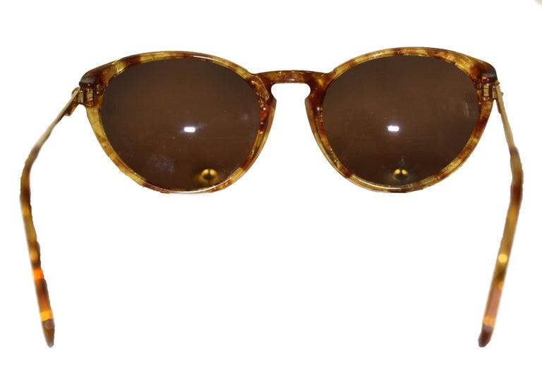 Brown Cartier Tortoise Shell Motif Sunglasses  Gold Tone Details 135 Temples For Sale