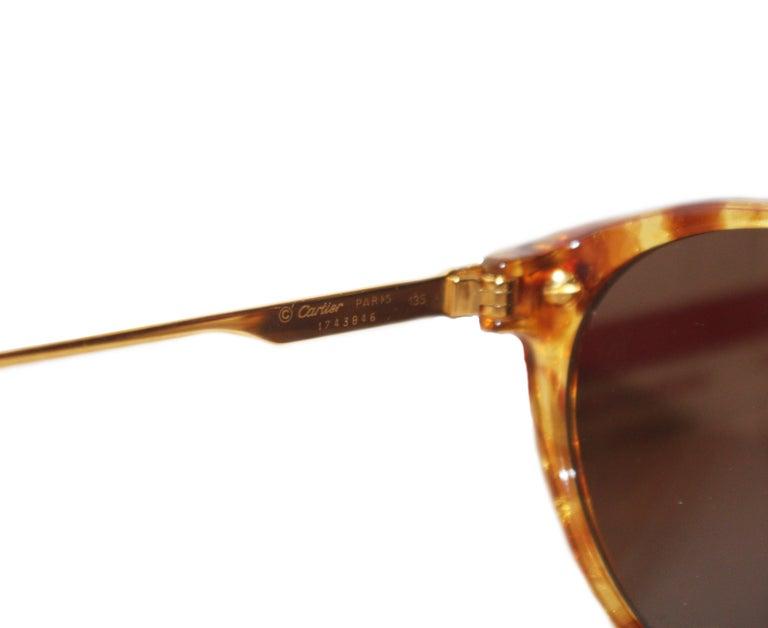 Cartier Tortoise Shell Motif Sunglasses  Gold Tone Details 135 Temples For Sale 1