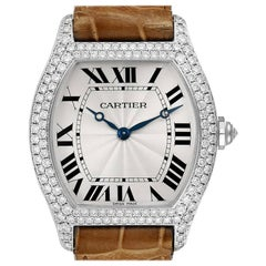 Cartier Tortue 18 Karat White Gold Diamond Men's Watch WA504351