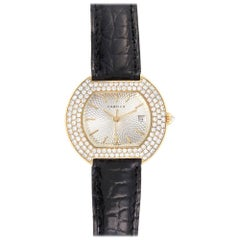Cartier Tortue 18 Karat Yellow Gold Diamond Silver Dial Ladies Watch 1481