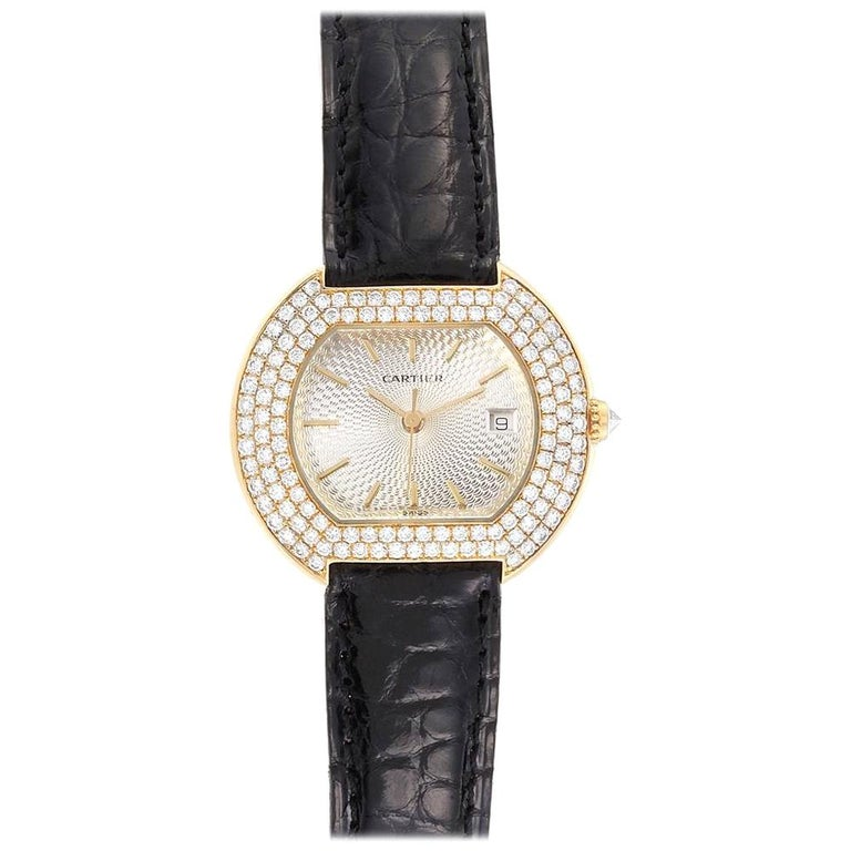 Cartier Tortue 18 Karat Yellow Gold Diamond Silver Dial Ladies Watch 1481 For Sale