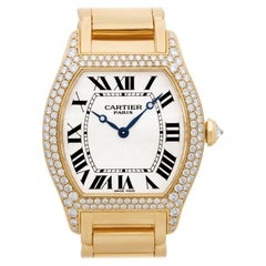 Cartier Tortue 18 Karat Yellow Gold Factory Diamonds Manual Watch 2496C